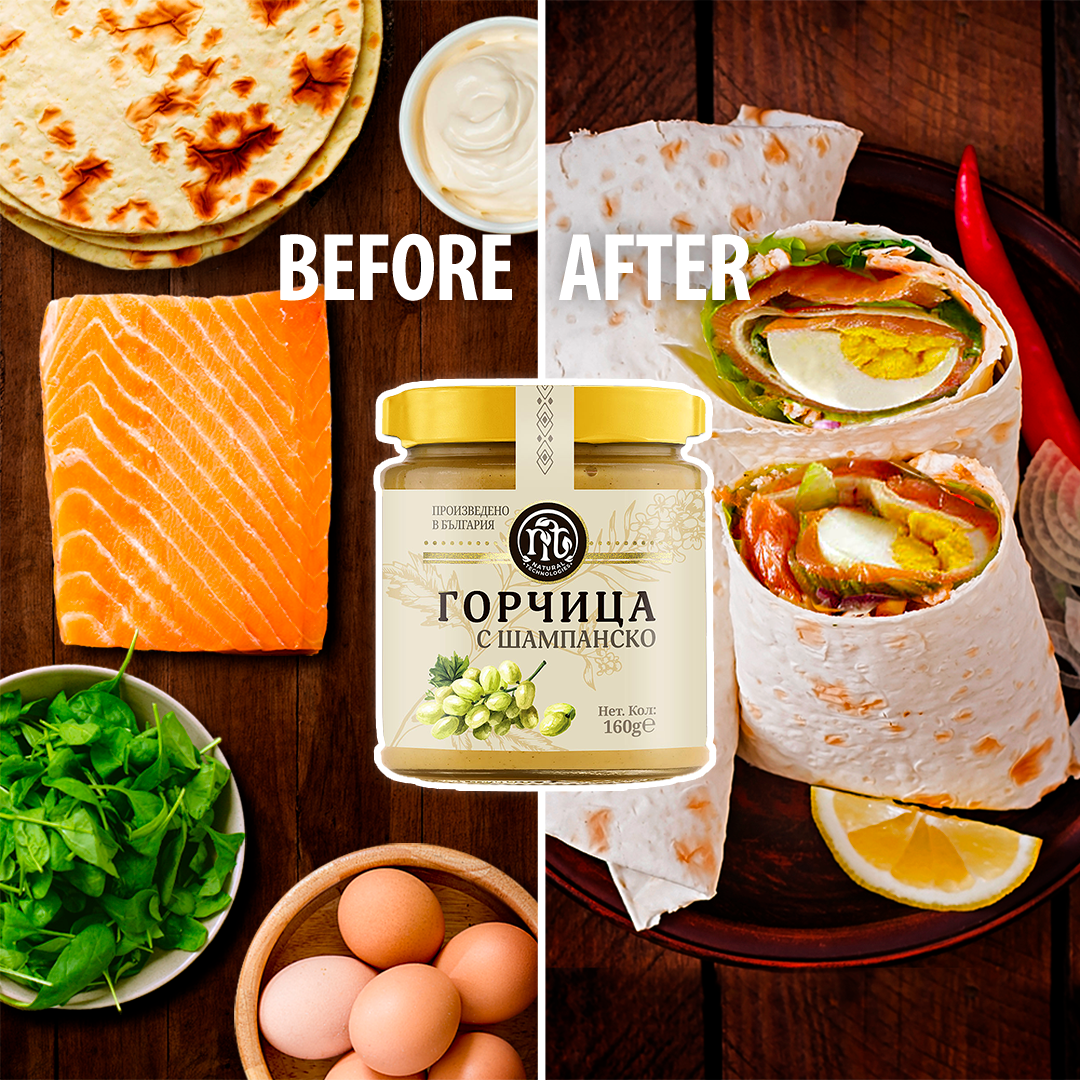 wrap mustard with champagne salmon