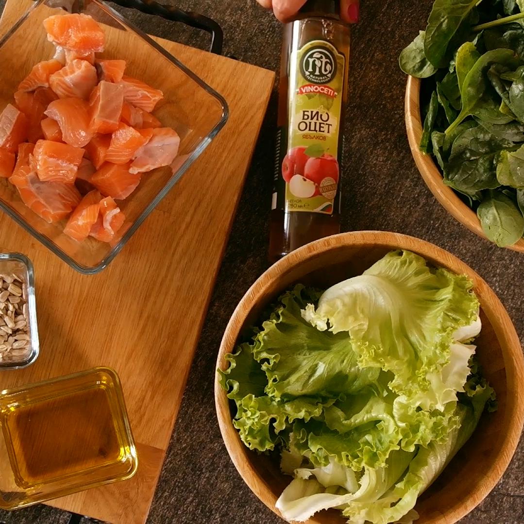 salmon salad Sandra organic apple Vinoceti vinegar