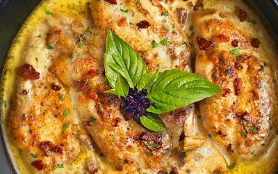 Пиле с бекон и медена горчица
