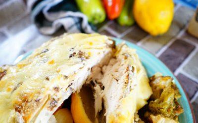 Печено пиле със сметана и горчица трюфел на фурна